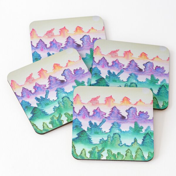 The Five Gifts, watercolor forest Coasters (Set of 4)