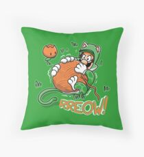Luigi's Cat Suit - Meoweegee Throw Pillow