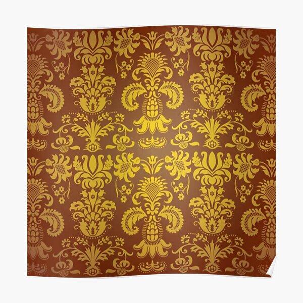 golden damask pattern Poster