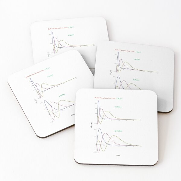 Hydrogen Atom Wave Functions Coasters (Set of 4)