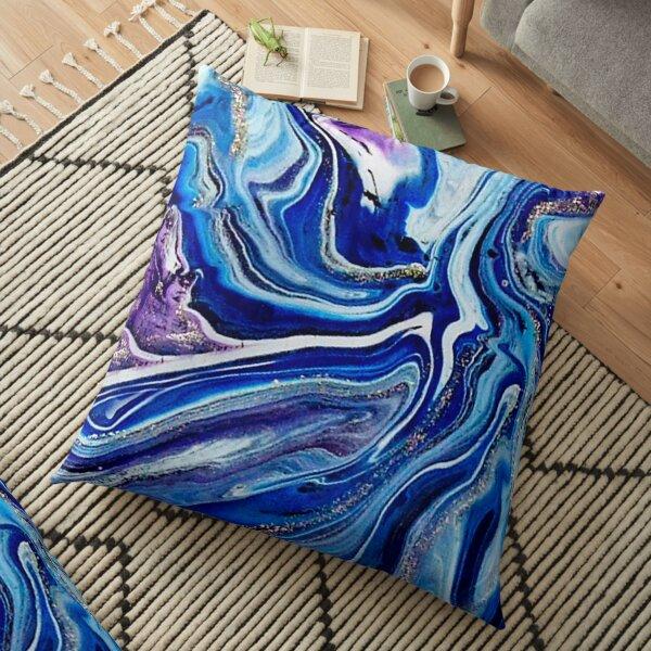 Royal Blue and Purple Fluid Acrylic Painting Floor Pillow