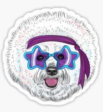 Star Disco dog Bichon Sticker