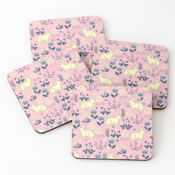 FLORAL EASTER BUNNY  Coasters (Set of 4)