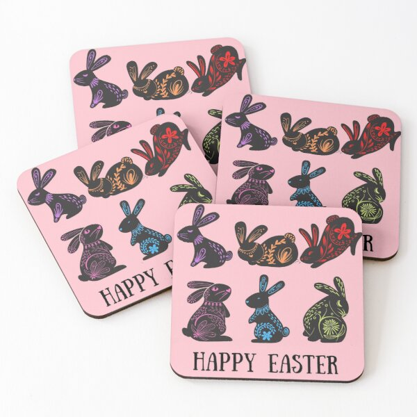 CUTE FLORAL BUNNY COLLECTION  Coasters (Set of 4)