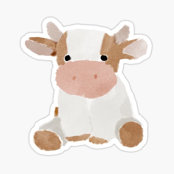 watercolor cow Sticker