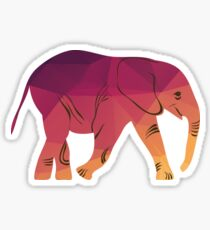 Geometric elephant pink colour Sticker