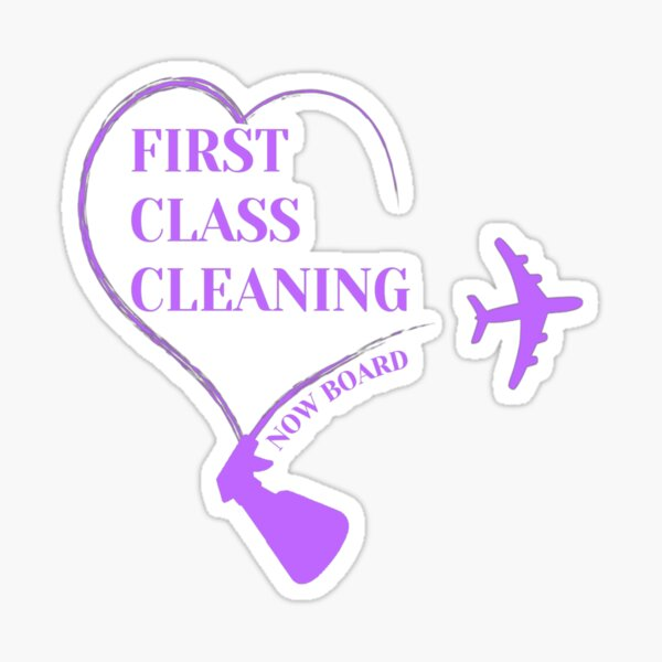 First Class Cleaning Inspirational Housekeeping Gift T-Shirt   Sticker