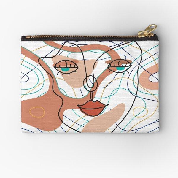 Line Face Art Zipper Pouch