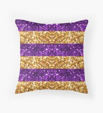 Purple and Gold Glitter Stripes Throw Pillow