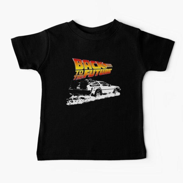 Retour vers le futur - DeLorean Fire Tracks White Stencil Fan Art T-shirt bébé
