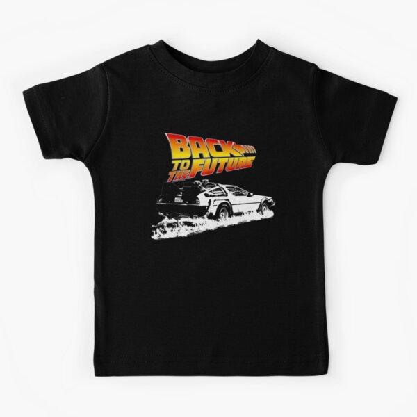 Back to the Future - DeLorean Fire Tracks White Stencil Fan Art Kids T-Shirt