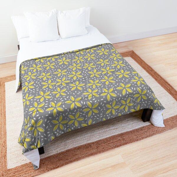 Pantone 2021 colours, Ultimate Gray and Illuminating, yellow flowers and white flecks Comforter