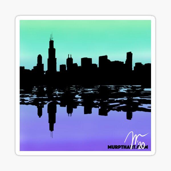 Chicago Green and Purple Gradient Skyline Sticker