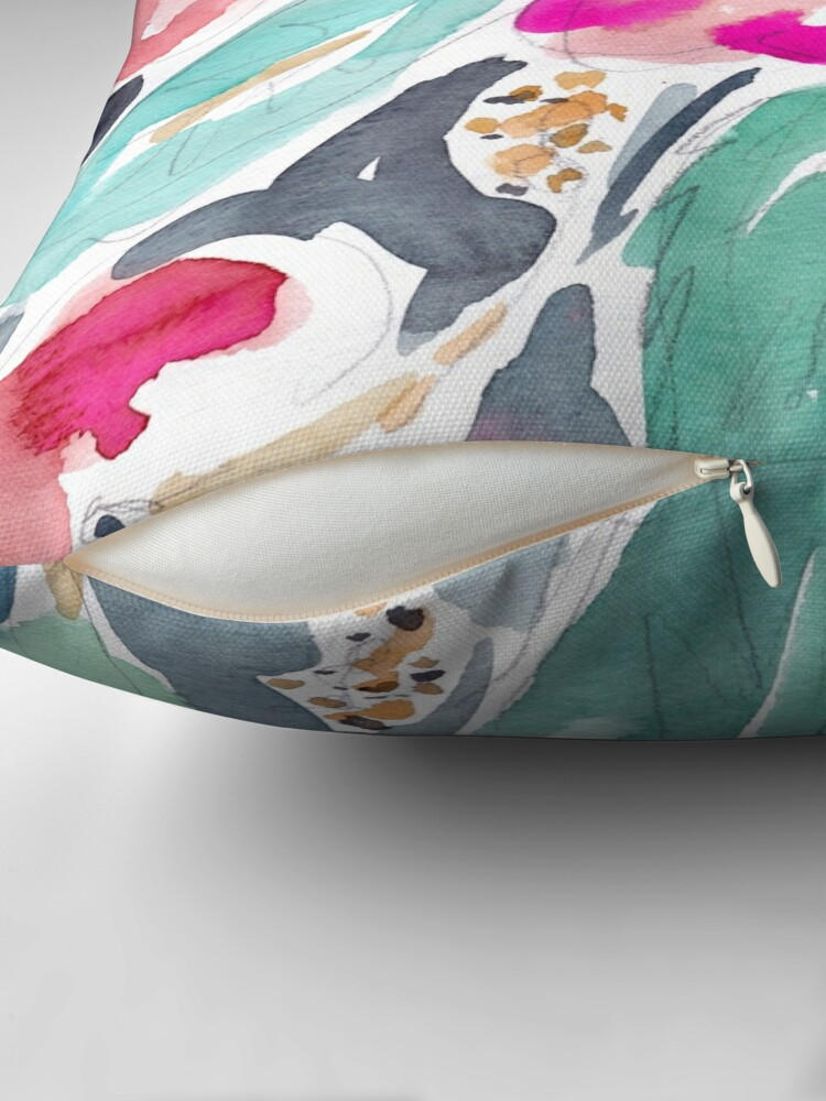 Alternate view of Peach Hibiscus Throw Pillow