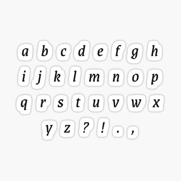 Minúsculas del alfabeto en letra cursiva serif Pegatina
