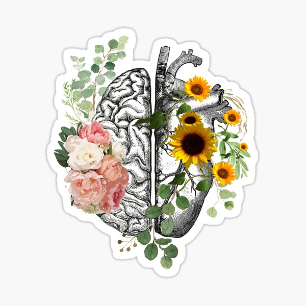 Right balance between head and heart, roses and sunflowers,watercolor Sticker