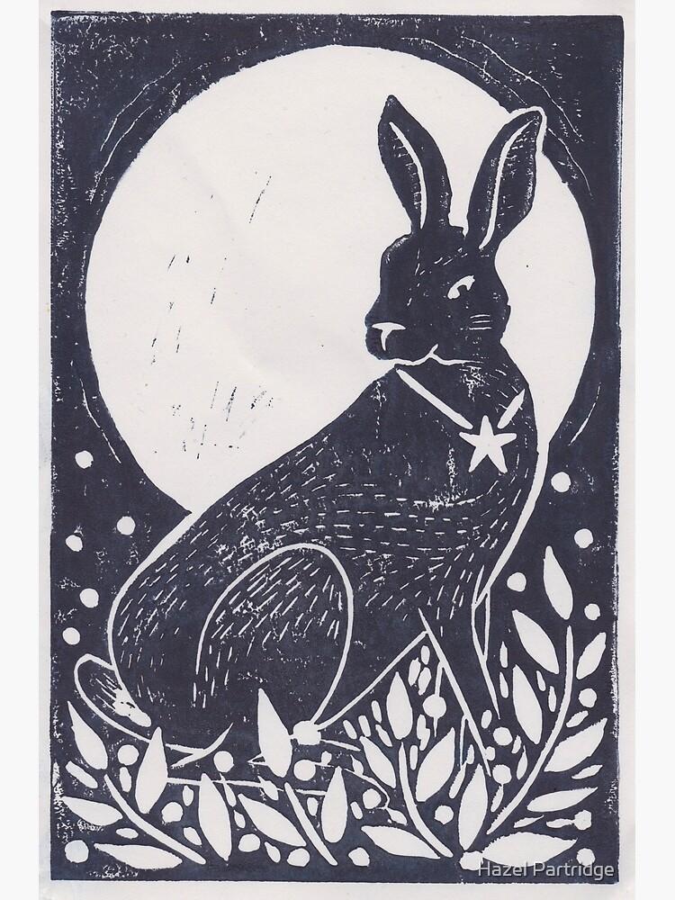 Hare and Moon Lino Print by HazelMorgan