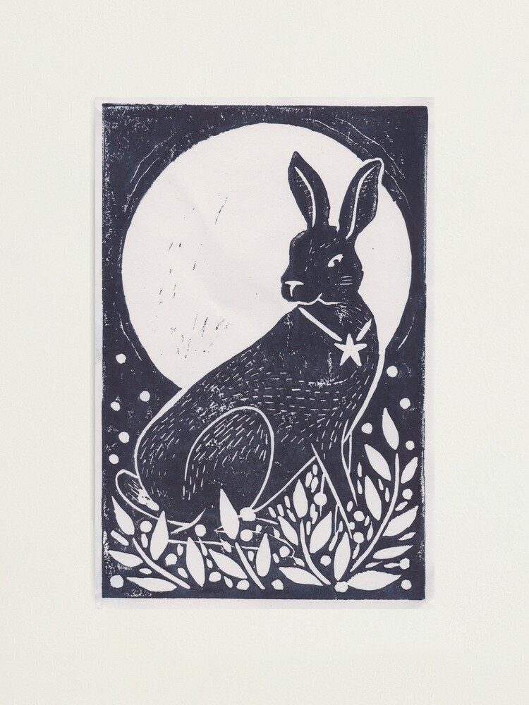 Alternate view of Hare and Moon Lino Print Photographic Print