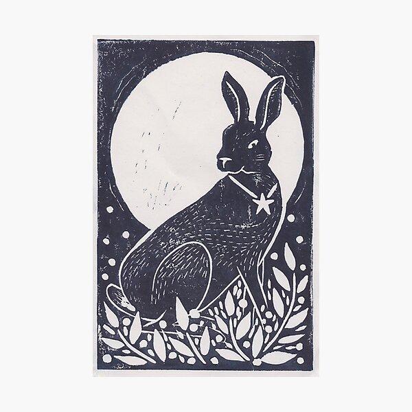 Hare and Moon Lino Print Photographic Print
