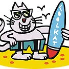 Cool cartoon cat on beach holding surfboard by Al Benge