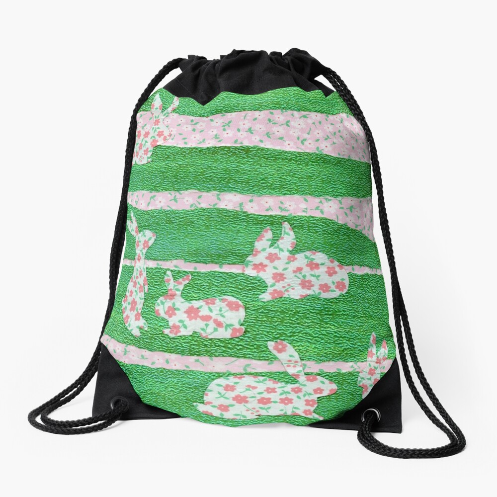 Bunnies in the Clover  Drawstring Bag