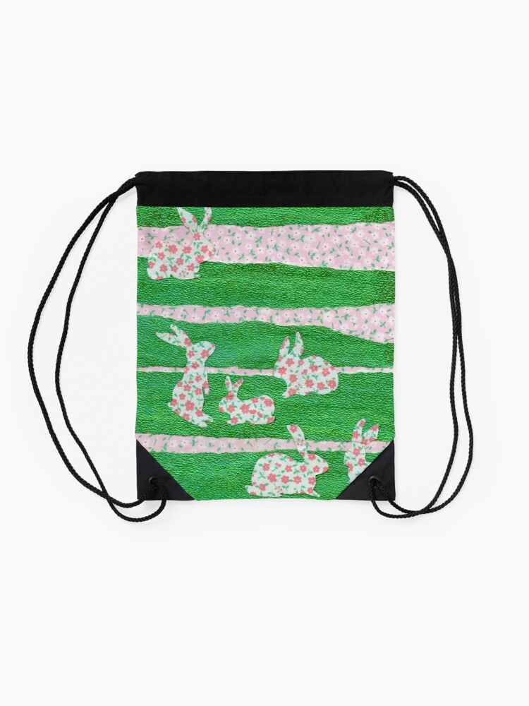 Alternate view of Bunnies in the Clover  Drawstring Bag