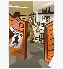 Cowboy Robber Stealing Saloon Poster Poster