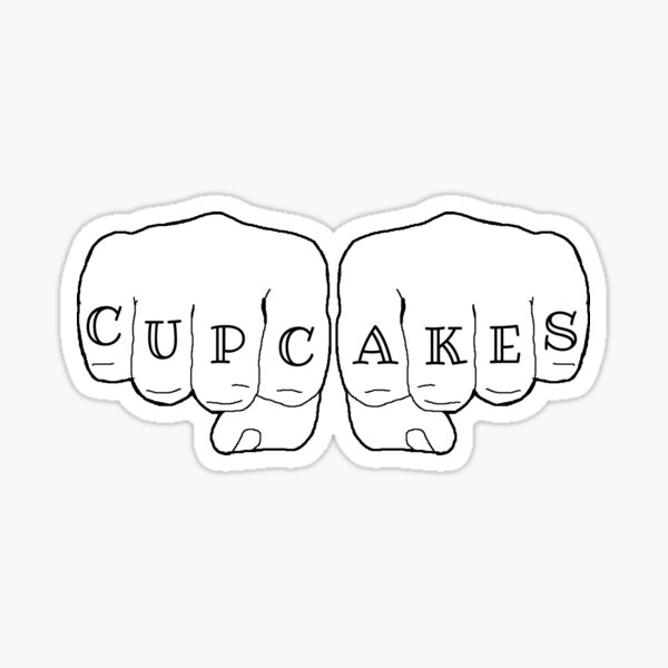 Badass cupcakes fist tattoo Sticker