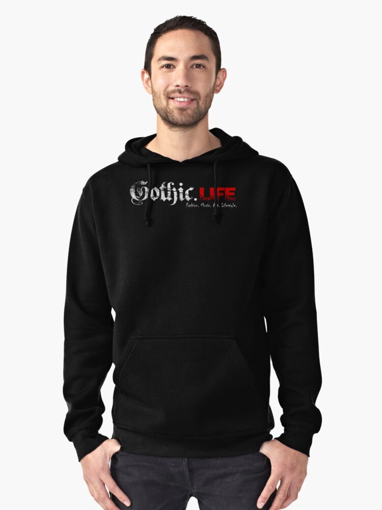 Gothic.Life Black (with tagline) Pullover Hoodie Front