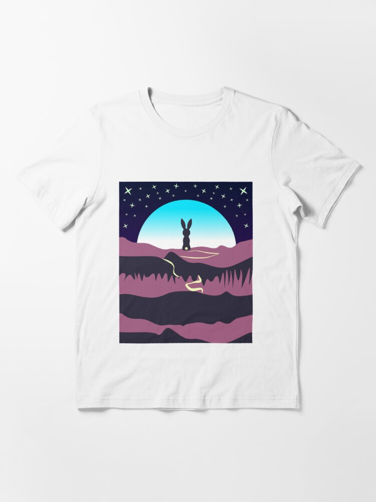 Alternate view of Bunny Rabbit Going to moon by walk Unisex Novelty Graphics T-shirt Essential T-Shirt