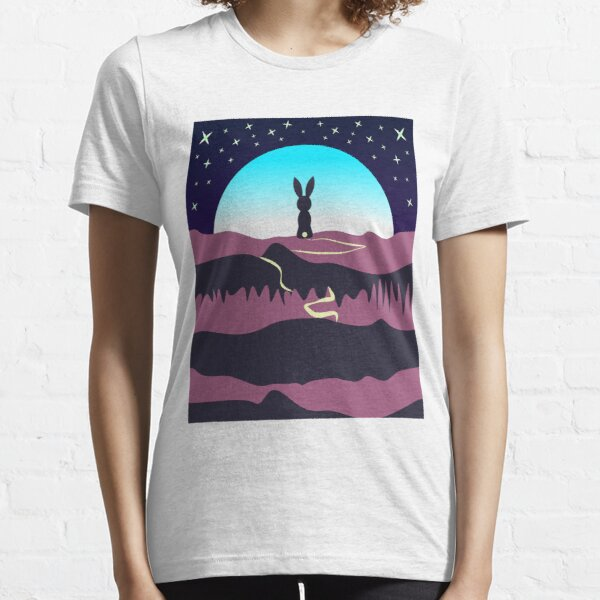 Bunny Rabbit Going to moon by walk Unisex Novelty Graphics T-shirt Essential T-Shirt
