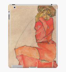 Egon Schiele - Kneeling Female in Orange-Red Dress 1910 Woman Portrait iPad Case/Skin