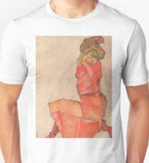 Egon Schiele - Kneeling Female in Orange-Red Dress 1910 Woman Portrait Unisex T-Shirt