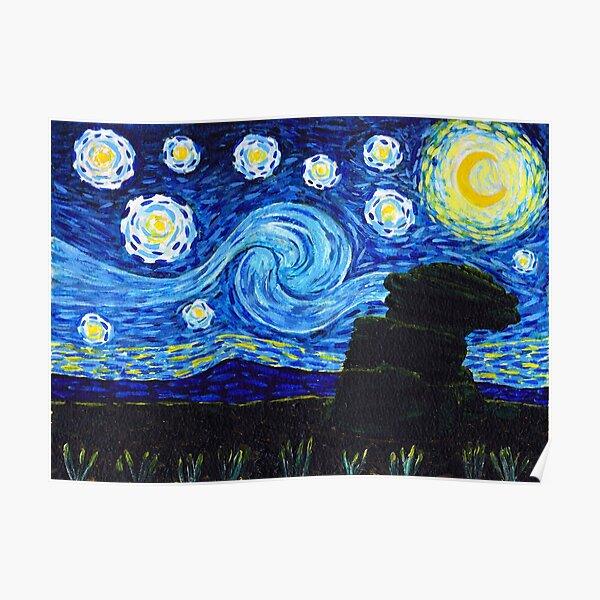 Dartmoor by Night, Van Gogh style Poster