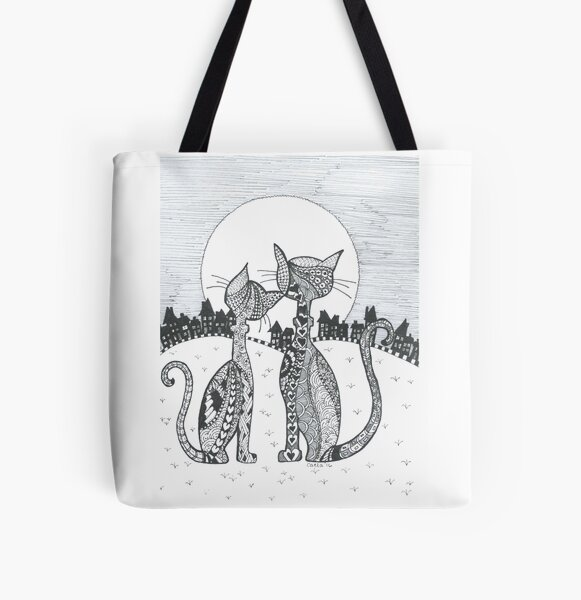 """Doodle Cats """"Moonlighting"""" All Over Print Tote Bag"""