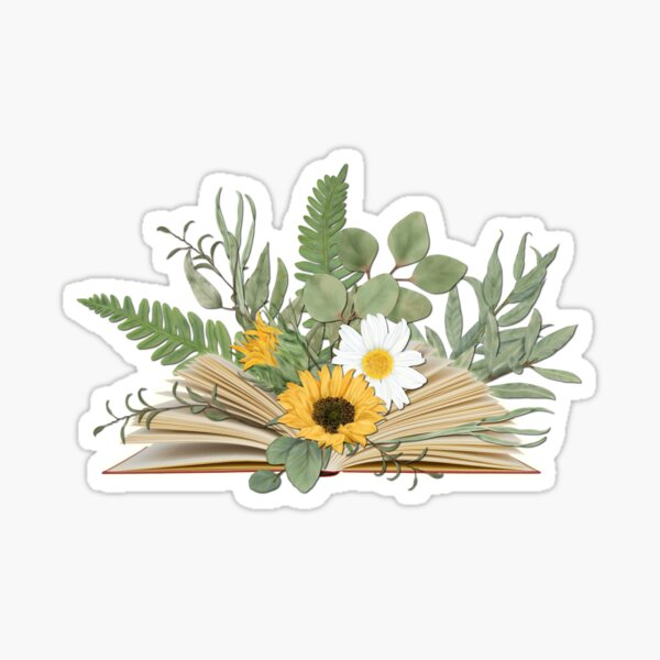 Open Book with Florals and Leaves Sticker