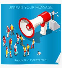 Social Promotion Concept Isometric Poster