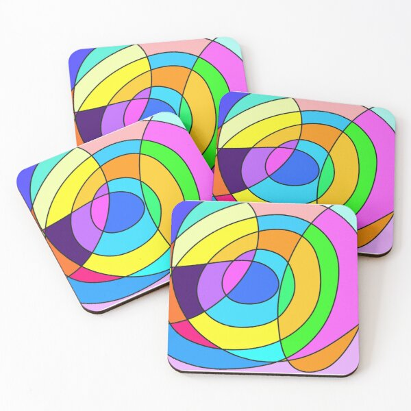 Abstract Mosaic Four Coasters (Set of 4)