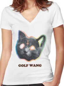Golf wang cat tee Women's Fitted V-Neck T-Shirt