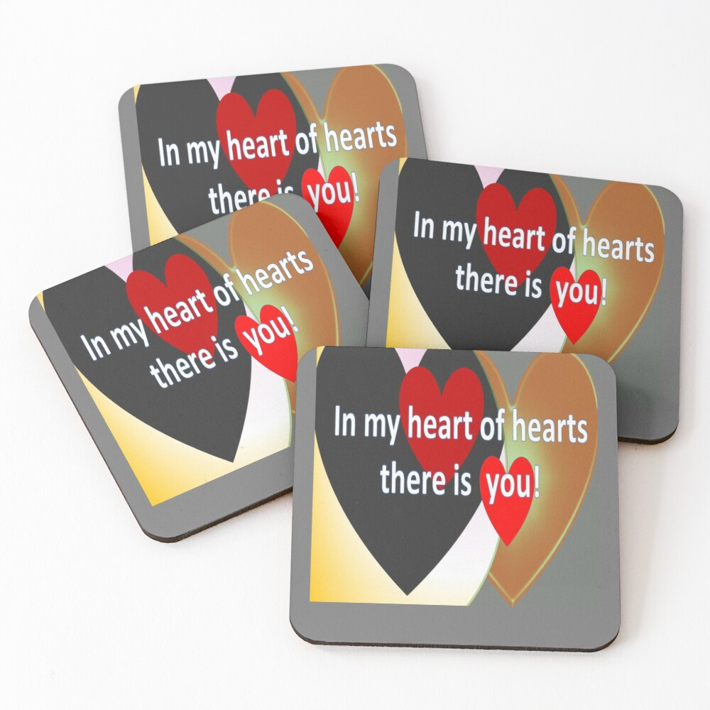 Flashy loud hearts with love quote Coasters (Set of 4)