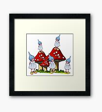 Fantasy Art: Little Gnome Girls and Toadstools Framed Print