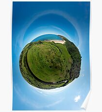 Kinnagoe Bay (as a floating green planet) Poster