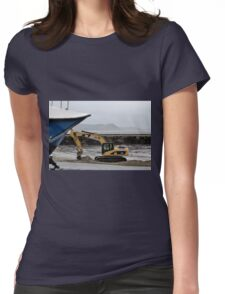 Harbour Dredging at Lyme Regis, Dorset UK Womens Fitted T-Shirt