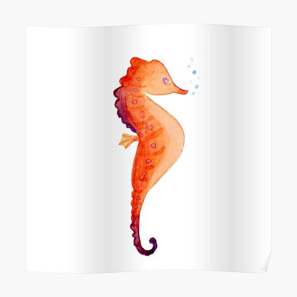 orange Seepferdchen Aquarell Aquarell unter den Seeblasen Poster