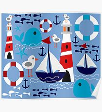 Boat ant sea blue Poster