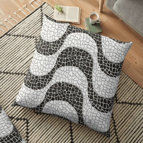 black and white mosaic tile waves pattern Floor Pillow