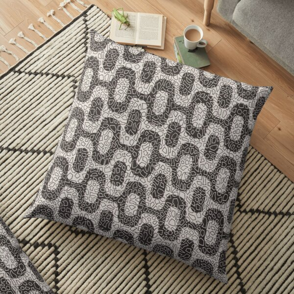 black and white mosaic tiles waves pattern Floor Pillow