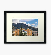 Buildings and Mountains Urban Scene in Quito Ecuador Framed Print