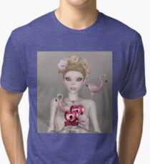 Surreal portrait of a woman with big eyes Tri-blend T-Shirt