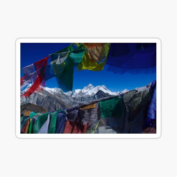 Mount Everest through prayer flags Nepal Sticker